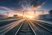 Railway Station With Motion Blur Effect. Blurred Railroad poster