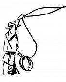 Cowboy jogando o Lasso - ilustração Clipart retrô