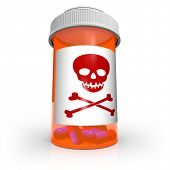 An orange prescription medicine bottle containing blue and red capsule pills and the skull and crossbones warning symbol on the label cautioning you to be careful with this dangerous medication