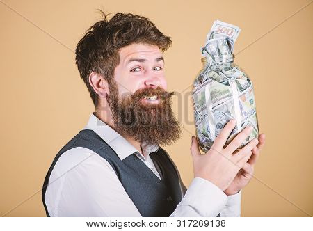 poster of Engaging In Investment Activity. Happy Businessman Making A Good Investment. Bearded Man Investor Sm