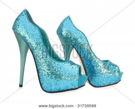 Постер, плакат: Синий открытых ног игристое высокие каблуки насос обувь, холст на подрамнике