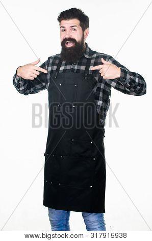 poster of Barbershop Concept. Hairdresser Barber Salon For Men. Uniform For Barber Salon. Man Brutal Bearded H
