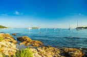 Yachting Paradise, Anchored Sailing Boats And Yachts In The Morning In Blue Bay On Croatian Adriatic poster