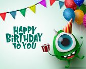 Happy Birthday Greeting Card With Monster Character Vector Background Template. Happy Birthday Text  poster