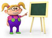 school girl with blackboard