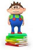 school boy standing on stack of books
