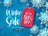 Winter Sale Vector Banner Design. Winter Sale Discount Text With White Snowflakes And Red Tag Elemen poster