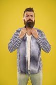 Imagine I Have Bow Tie. Beard Fashion And Barber Concept. Man Bearded Hipster Beard Yellow Backgroun poster