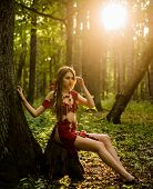 Female Spirit Mythology. She Belongs Tribe Warrior Women. Wild Attractive Woman In Forest. Folklore  poster