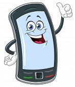 stock photo of mobile-phone  - Smart phone cartoon with thumb up - JPG