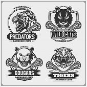 Set Of Lacrosse Emblems, Badges, Logos And Labels With Tiger, Cougars And Wildcat. Print Design For  poster