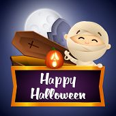Happy Halloween Postcard Design With Waving Mummy, Coffin And Grave On Dark Blue Moon Light Backgrou poster