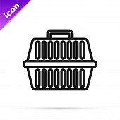 Black Line Pet Carry Case Icon Isolated On White Background. Carrier For Animals, Dog And Cat. Conta poster