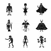 Isolated Object Of Creature And Devilry Symbol. Collection Of Creature And Halloween Vector Icon For poster