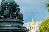 Veliky Novgorod, Russia.monument Millennium Of Russia On The Background Of St Sophia Cathedral In Ve poster