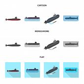 Vector Design Of War And Ship Icon. Collection Of War And Fleet Stock Symbol For Web. poster