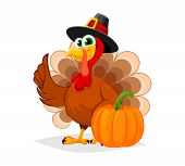 Thanksgiving Day. Funny Cartoon Character Turkey Bird In Pilgrim Hat Stands With Pumpkin. Vector Ill poster