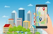 Flat Gps Navigation In The Phone With A Red And Blue Pointers. Gps Tracking Map. Track Navigation Pi poster