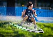 MELBOURNE, AUSTRALIA - MARCH 12: Dylan Prideaux in the wakeboard event at the Moomba Masters on Marc