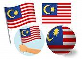 Malaysia Flag Icon Set. National Flag Of Malaysia Vector Illustration poster