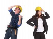 Construction Worker And Businesswoman