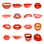 Female Lips Set On Sweet Passion. Lip Design Element Lust Makeup Mouth. Vector Print Cosmetic Sensua poster
