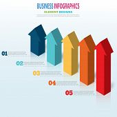 Infographics Business Template 3d Arrow Steps For Presentation, Sale Forecast, Web Design, Improveme poster