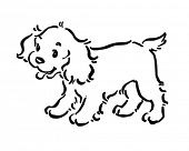 Cute Puppy Dog - Retro Clipart Illustration