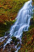 image of upstream  - Vivid colorful falls upstream from Multnomah Falls - JPG