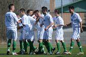 KAPOSVAR, HUNGARY - MARCH 17: Kaposvar players celebrate at the Hungarian National Championship unde