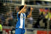 BARCELONA - MARCH 19: Philippe Coutinho of RCD Espanyol celebrating goal during a Spanish League mat