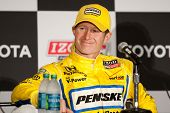 LONG BEACH - APRIL 17: Ryan Briscoe driver of the #6 Penske Truck Rental Team Penske Honda during th
