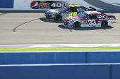 FONTANA, CA. - OCT 10: Sprint Cup Series driver Jimmie Johnson in the #48 car & Sprint Cup Series dr