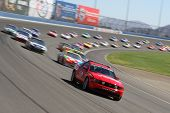 FONTANA, CA. - OCT 10: The Ford Mustang pace car leads the way during the Pepsi Max 400 on Oct 10 20