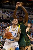 LOS ANGELES - MARCH 10: UCLA Bruins F Reeves Nelson #22 & Oregon Ducks F Joevan Catron #34 during th