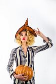 Witch. Celebration Autumn Holiday Halloween. Trick Or Treat. Halloween Witch In Magic Hat. Beautiful poster