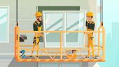 Contractors On Construction Works Cartoon Vector Concept. Workers In Uniform And Safety Helmet, Clim poster