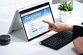 Businesswoman Filling Online Registration Form poster