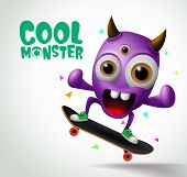 Cool Monster Skater Character Vector Design. Skater Cool Monster Character Creature Playing Skateboa poster