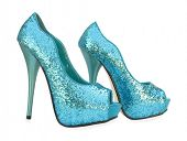foto of peep toe  - Blue open toe sparkling high heels pump shoes - JPG
