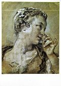USSR - CIRCA 1972: Postcard printed in the USSR shows draw by Francois Boucher (1703-1770)