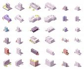 Vector Isometric Buildings Set For Isometric City Map Or Infographic. Skyscrapers, Offices, Houses,  poster