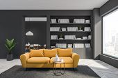 Gray Living Room With Yellow Sofa poster