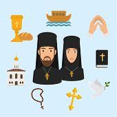 Orthodox Christianity Religion Symbols Vector Illustration. Isolated Religious Icon, Church And Jesu poster