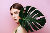 Beauty Woman With Natural Green Palm Leaf Portrait, Model Girl With Perfect Makeup, Natural Eyeshado poster