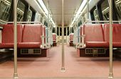 Interior of subway train car in Washington DC Metro system