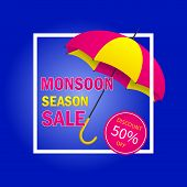 Monsoon Sale Offer Background With Ribbon And Umbrella. Monsoon Season Sale Concept For Poster, Flye poster