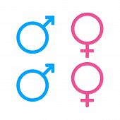 Male And Female Icon.sign Of Gender Of Male, Female. Gender Symbol On Isolated Background. Vector Ep poster
