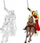 vector -  knight on horse isolated on background