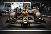 GENEVA SWITZERLAND - MARCH 12: The Lotus Stand displaying the 2011 Lotus Racing F1 Car, in John Play